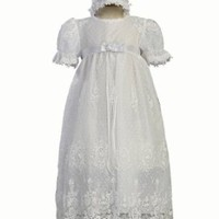 White Embroidered Tulle Lace Christening Baptism Gown