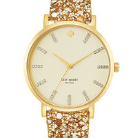 kate spade new york Women's Metro Grand Interchangeable Gold-Tone Glitter and Black Leather Strap Watch Set 38mm 1YRU0296A