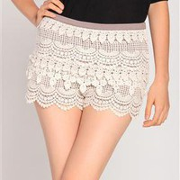 Zip Up Crochet Shorts in Ivory