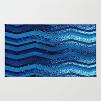 sparkly and dark blue adventure Area & Throw Rug by Marianna Tankelevich