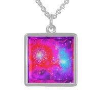 Fuchsia and Teal Nebula Galaxy Pendant Sterling