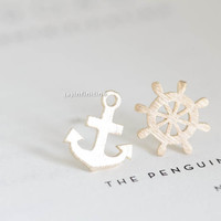 anchor and rudder earring set/stylish earrings/unique earrings/fun earrings/funky earrings/fashion earrings/men earrings/women earrings