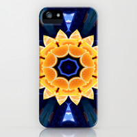 Orange Flower Mandala iPhone & iPod Case by Laura Santeler