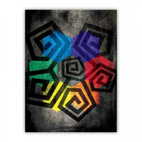 Colors and Cool Shapes Wood Print