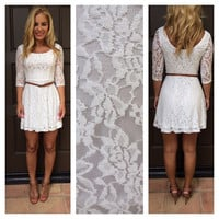 White Lace Clarissa Dress With Belt