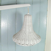 Vintage White Wicker Suspended Light - Retro Chippy Paint Hand Crafted Hanging Electric Fixture - Cottage Chic Swivel Lamp Accent