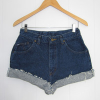 Vintage Cut Off High Waisted Jean Shorts Blue Denim Cuffed 28""