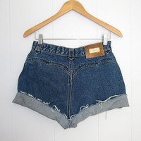 Vintage Cut Off Shorts High Waisted Denim Blue Jean Cuffed 28""