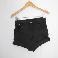 "Vintage Skinny Black Stretch Cut Off Shorts High Waisted Denim Jean 27"" jr 13 14"