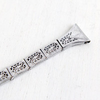 Antique Art Deco Watchband- 1930s Vintage Silver Tone Flower Embossed Open Filigree Watch Band Panel Jewelry