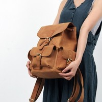 Perfect retro everyday leather backpack for women from Vintage rugged canvas bags
