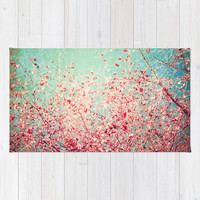 Blue Autumn, Pink leafs on blue, turquoise, green, aqua sky Area & Throw Rug by AC Photography