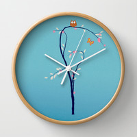 The Owl and the Butterfly Wall Clock by Laura Santeler
