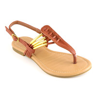 Tan & Gold Ankle-Strap Sandal | something special every day