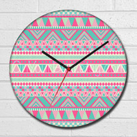 Pink Aztec Wall Clock Tribal Geometric , Glass Wall Clock