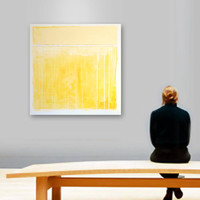 "Large Abstract Acrylic Painting Original Fine Art 36""x36"" by Linnea Heide - yellow - sun - summer"