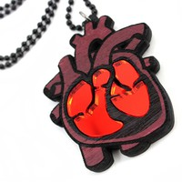 """Heart Attack"" Necklace by GoodWood (Purple Wood)"
