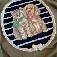 Gold Puppy and Kitty Pals Applique Cardigan