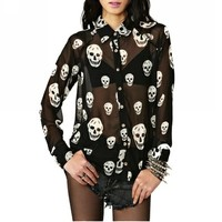 ELLAZHU Women Skulls See-through Long Sleeve Spring/Summer Chiffon Blouse Shirt CZ67
