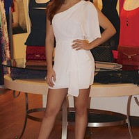 White One Shoulder Mini Dress