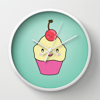 Wall Clock Kawaii Cupcake Cherry Kitchen Food Sweets Mint Home Decor Wall Decor Made To Order Clock Custom Clock
