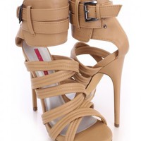 Nude Strappy Peep Toe Heels Faux Leather