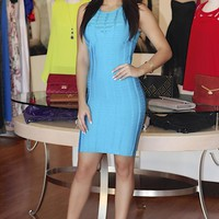 Aqua Sleeveless Bodycon Dress