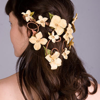 Cascading Veil of Golden Yellow Flowers ~ Aurelia Half-Crown