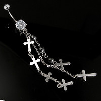 14g Cross Charm Belly Button Ring Dangle Navel Body Jewelry Piercing