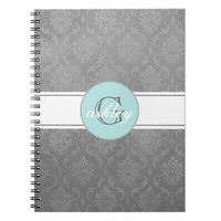 Gray Vintage Damask Aqua Monogram Spiral Notebook