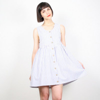 Vintage 80s Babydoll Dress Pastel Light Blue White Striped Mini Dress 1980s Summer Sundress Lolita Seersucker Stripe Day Dress XS S Small M