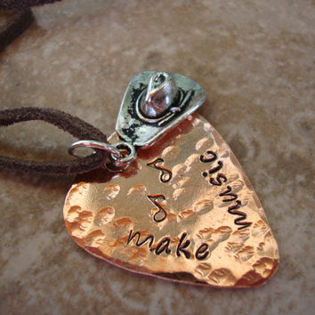 Make music stamped copper guitar pick necklace with cowboy hat charm