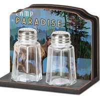 Night At The Lodge Napkin Holder S&P Set : Log Cabin Styles