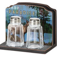 Night At The Lodge Napkin Holder S&amp;P Set : Log Cabin Styles