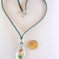 Pewter Pendant - Matte Finish -Enamel Butterfly & Flowers – Olive Green Leather Cord-Green Color Gifts