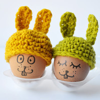 Egg Cosy duet / Bunny Hat / Mustard yellow and Moss green / handmade in Paris/ 2.75 to 1.5 inches