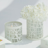 Global Views Strapping  Candle Holder /Vase White-Lg Set Of 8|9-91499 at livingcomforts.com