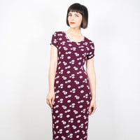 Vintage Burgundy Dress Bandage Bodycon Maxi Dress Daisy Floral Print Club Kid Dress 1990s Dress 90s Dress Grunge Dress Oxblood S M Medium L