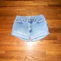Vintage Denim Cut Offs - 90s Light Wash Jean Shorts - Cut Off/Frayed/Distressed Short Shorts by Ralph Lauren - Misses Size 7/8 Spring/Summer