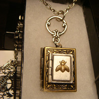 Tiny Bee Double Book Locket Victorian Style Necklace (1769)