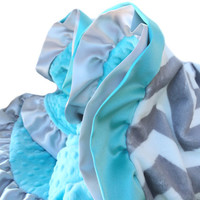 New Double Ruffle Gray and White Chevron with Tiffany Blue Minky Dot Baby Blanket Stroller Size