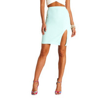 TEXTURED HIGH-WAISTED PENCIL SKIRT