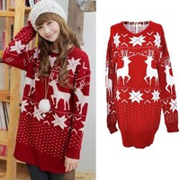 Red Elegant  Christmas Reindeer Maple Leaf Knitted Loose Women Sweater Jumpers