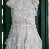 "20% OFF lagenlook bohemian cotton/silk top with shabby crochet and lace detail...small to 36"" bust..."