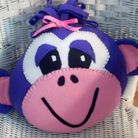 Plush monkey pillow , monkey face pillow, childrens pillow ,novelty pillow ,child toy, throw pillow,animal head,purple monkey pillow
