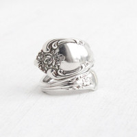 Vintage Spoon Ring - Adjustable Silver Plated Hallmarked WMA Rogers Oneida Ltd. Retro Bypass Flatware Vanessa Magnolia Costume Jewelry