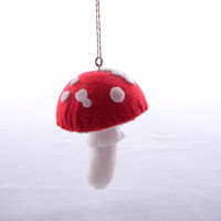 Mushroom Ornament Red White Spotted Toadstool by CandyAppleCrafts