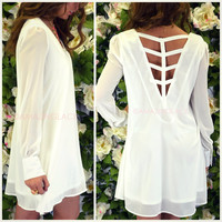 Cloud Nine Off White Caged Back Shift Dress