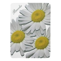 White Daisies Customizable Name Girl Baby Blanket