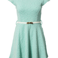 SEQUINS BUQLE BOW BELT SKATER DRESS